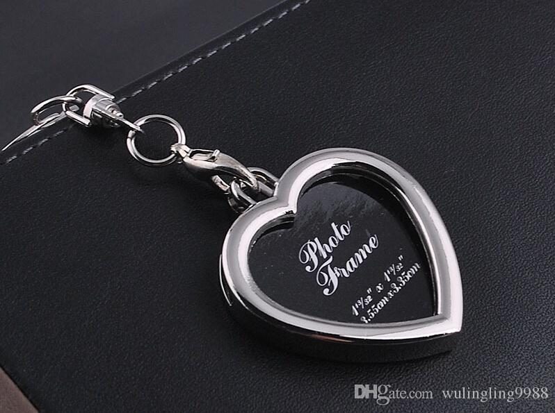 사진 프레임 라운드 심장 애플 타원형 마름모 모양의 금속 합금 키 체인 열쇠 고리 열쇠 고리 커플 열쇠 고리 비즈니스 선물