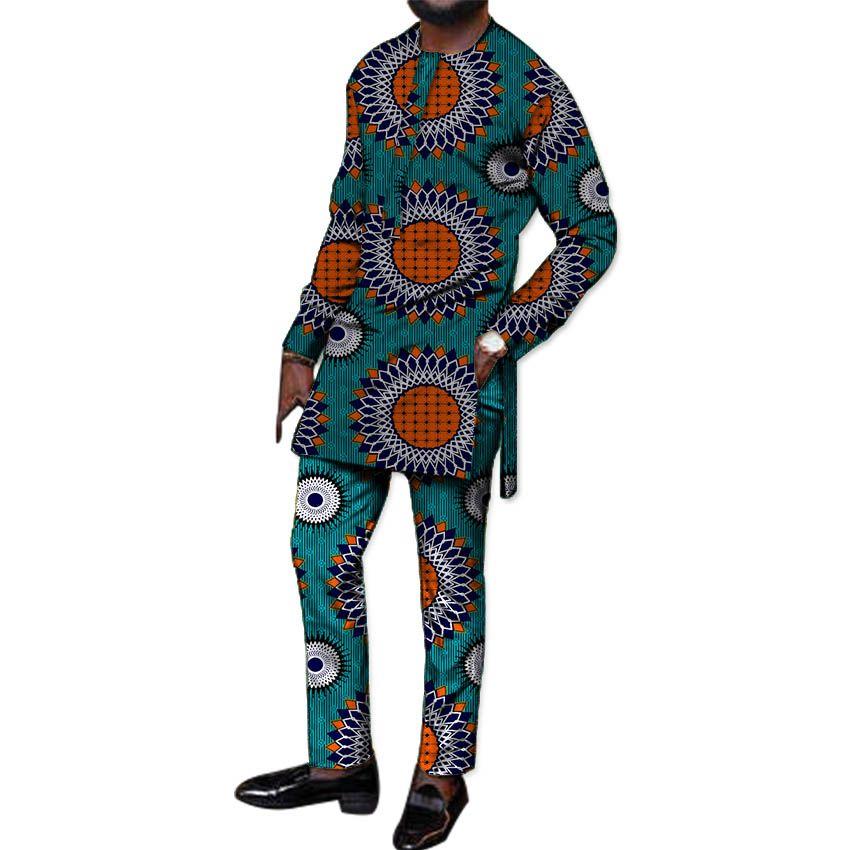 2019 Festival Africa Print Men Tops Pants Set Customized African