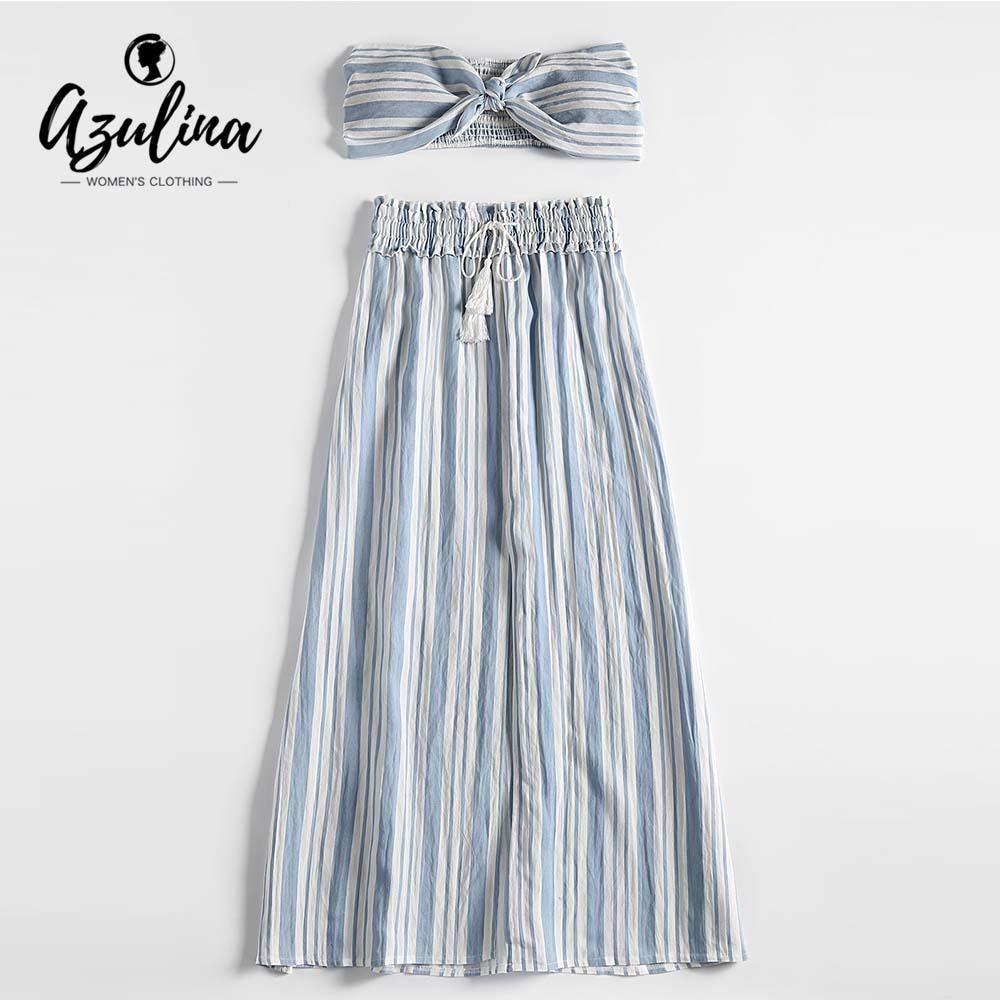 91de584d47e 20187 AZULINA Striped Smocked Panel Tied Tube Top Drawstring Slit Skirt  Women Set Summer Beach Crop Top High Waist Skirts 2018 UK 2019 From  Huang01