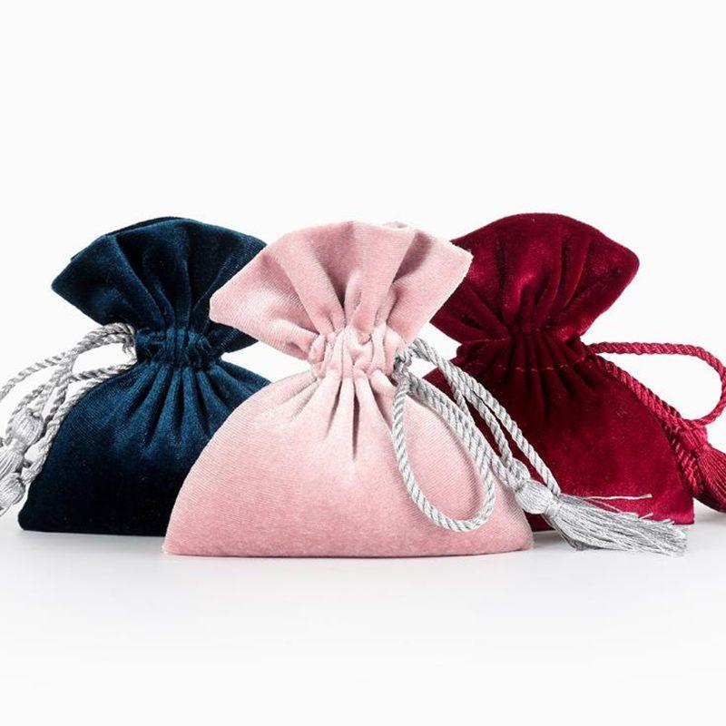 Bolsas de envoltura de la joyería de lazo de terciopelo bolsas de regalo para el embalaje de la fiesta de cumpleaños fuente de bricolaje regalo bolsa de dulces f20173130