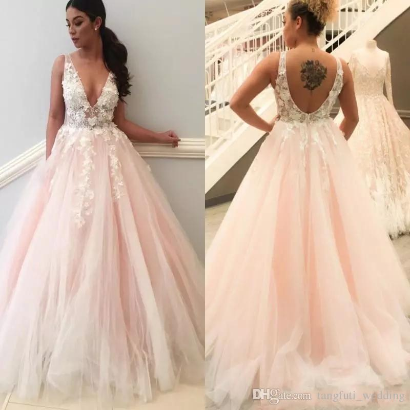 Discount 2018 A Line V Neck Blush Pink Wedding Dresses