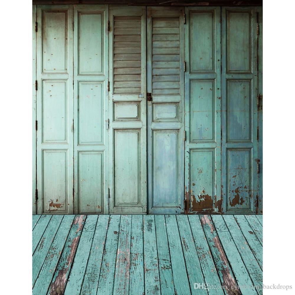 2019 light blue wooden door photo backdrop printed baby newborn photography props kids children indoor photographic shoot backgrounds wood floor from