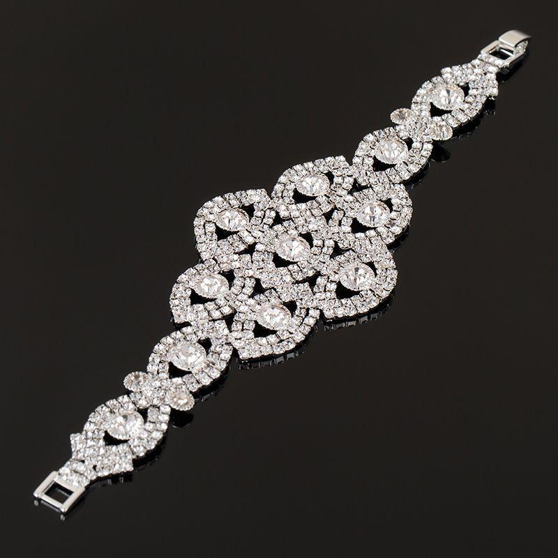 Hot Selling Statement Big Rhinestone Crystal Bracelets Bangles Women Gift Bridal Wedding Jewelry Party for Gift B161
