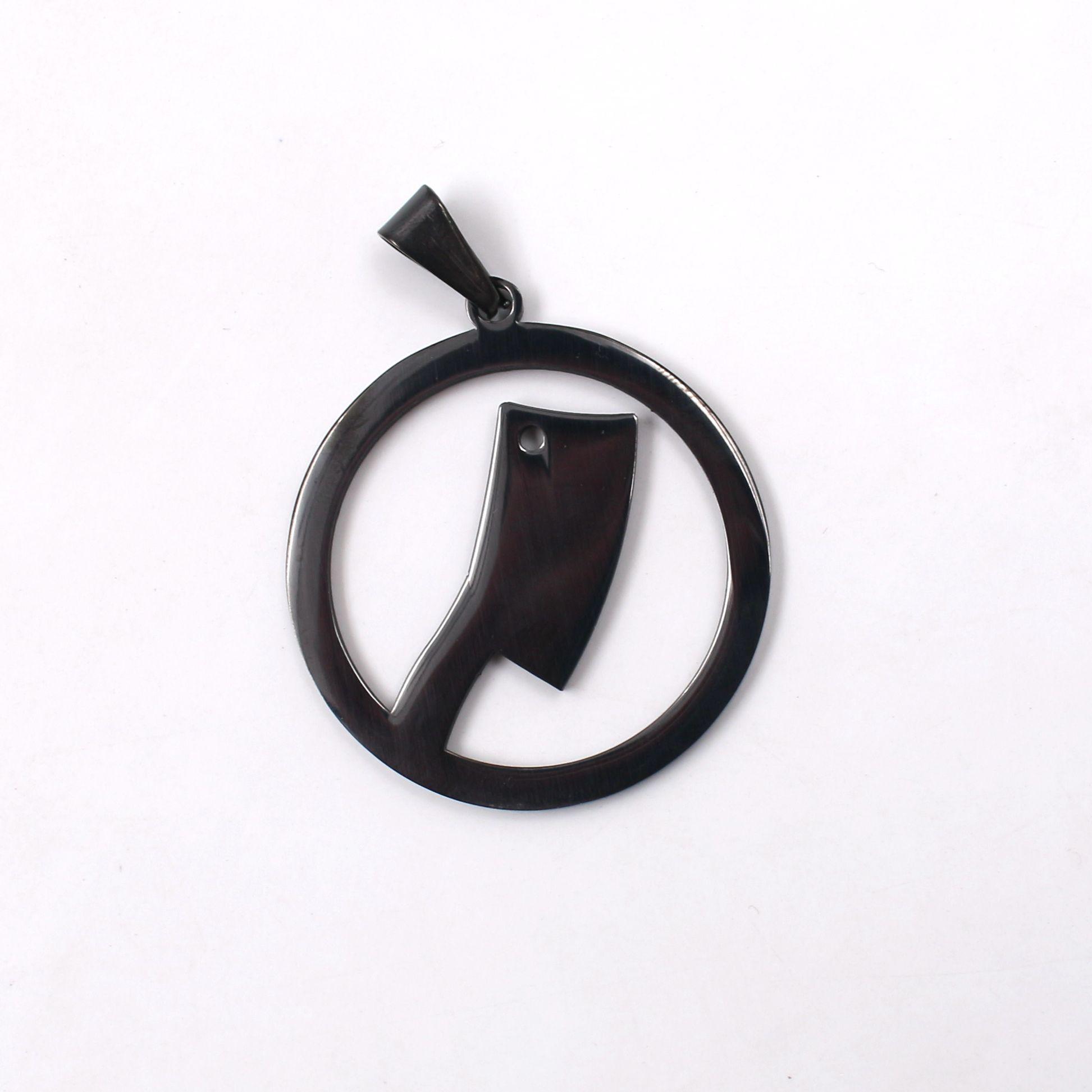 Drop shipping GNAYY Haute Qualité En Acier Inoxydable Noir / argent Rond Cuisine Couteau Pendentif Hommes Femmes Collier De Mode 4mm24 '' chaîne Rolo
