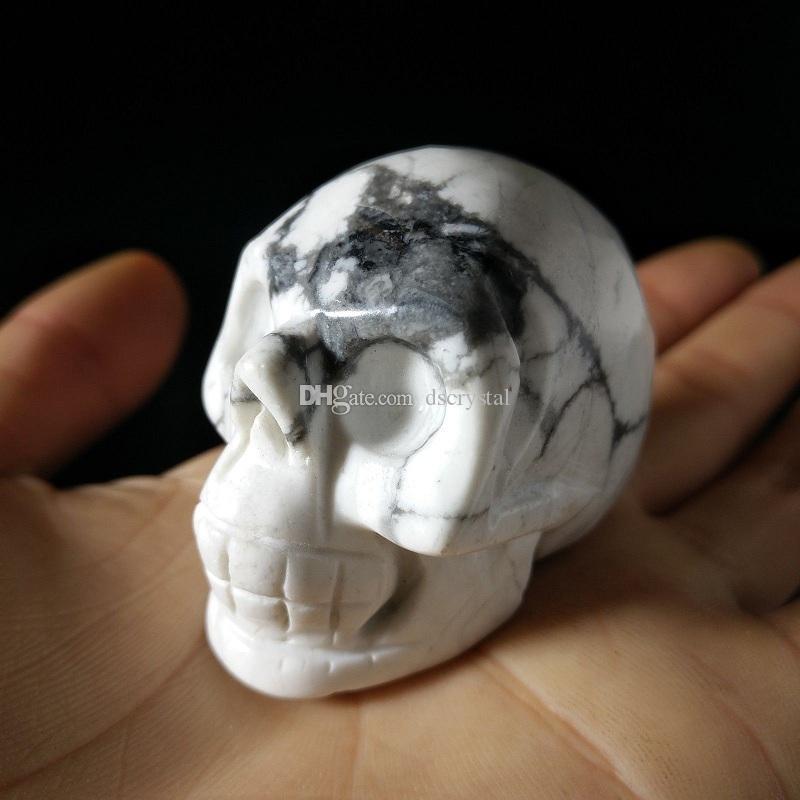 Doğal Beyaz Howlite Kristal Kafatası Kuvars Taş Turkuaz İnsan Kafa mineraller Numune şifa Feng Shui el sanatları.