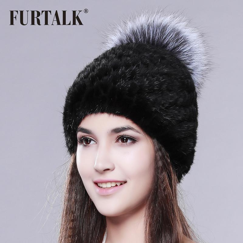 84e71663e8a7d FURTALK Russian Real Mink Fur Hat For Women Brand Winter Knitted Mink Fur  Beanie Cap With Fox Fur Pom Pom D18110102 Beanie Hat Sun Hats From  Shen8409