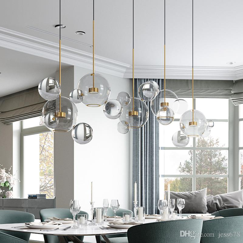JESS Clear Glass Ball Living Room Chandeliers Art Deco Bubble Lamp Shades Chandelier Modern Indoor Lighting Restaurant Iluminacao Ceiling Hanging