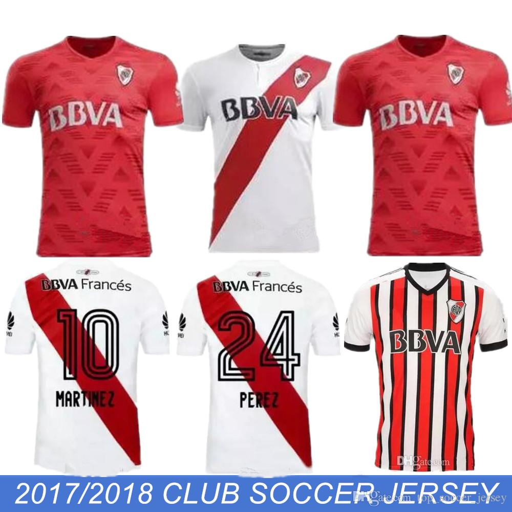05ae390b4 2019 2017 2018 River Plate Home White Soccer Jersey River Plate Away Red  Soccer Shirt 17 18 Riverbed Customized Football Uniform Sales From ...