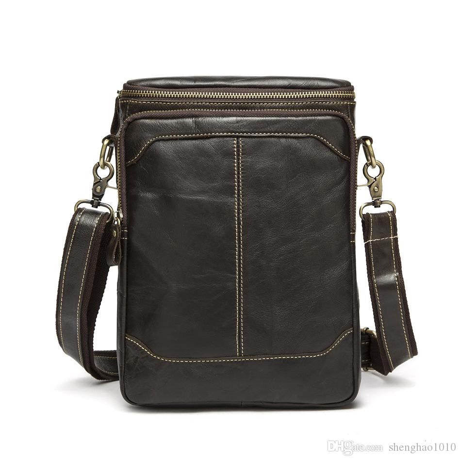 5180e1981e 2018 Genuine Leather Bags Men High Quality Messenger Bags Small Travel Dark  Brown Crossbody Shoulder Bag For Men Cross Body Purses Cheap Designer  Handbags ...