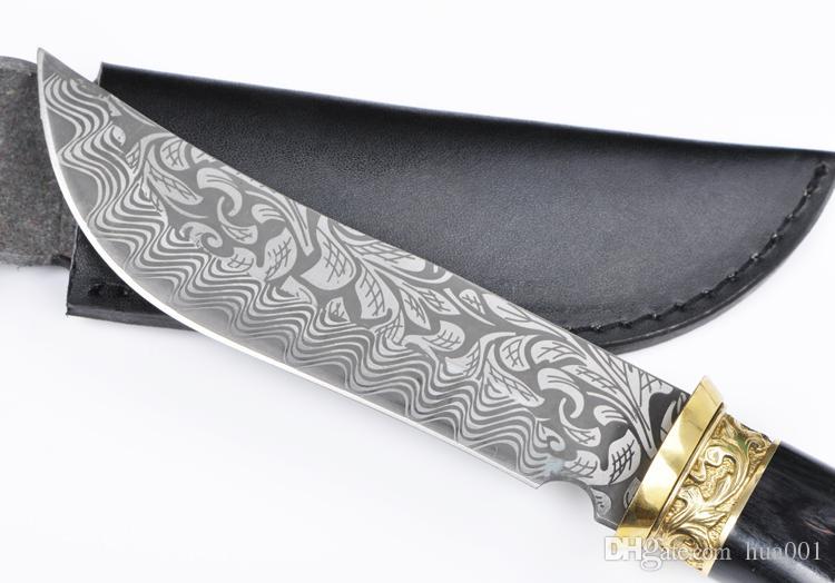 Высокого класса Дамаск ножи тактический фиксированным лезвием нож кемпинг карманный нож 7cr13mov лезвие латунь+деревянная ручка с оболочкой
