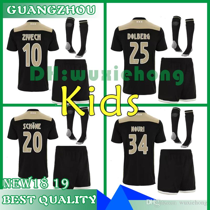 d3d5cd49980 2019 2018 2019 Ajax Kids Soccer Jersey 18 19 Ajax Away Children Soccer  Shirt 2019 VAN DE BEEK NOURI DOLBERG HUNTELAAR ZIYECH Football Shirt From  Wuxiehong, ...