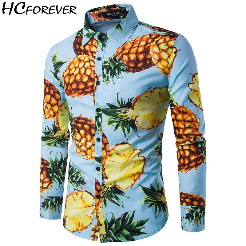 46101f0b 2019 Hawaiian Shirt Men 2018 Clothes Casual Long Sleeve Pink Blue Mens  Clothing Pineapple Beach New Buon Fashion Streetwear Sale From Beatricl, ...