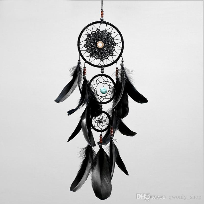 Dreamcatcher Handmade Dream Catcher Net With Feathers Black Wind Chimes Wall Hanging Car Pendant Ornament Party Gift Home Decoration