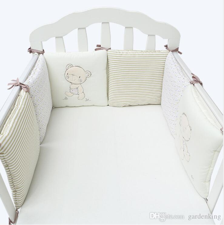 newest eb3f6 f73bb Hot Sale 6Pcs/Lot Baby Bed Bumper in the Crib Cot Bumper Baby Bed Protector  Crib Bumper Newborns Toddler Bed Bedding Set