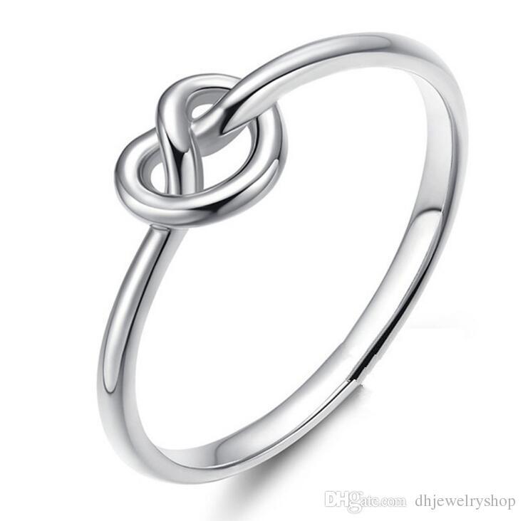 Мода Простой Любовь Сердца Галстук Узел Кольца для Женщин Сердце Узел Обручальные Кольца