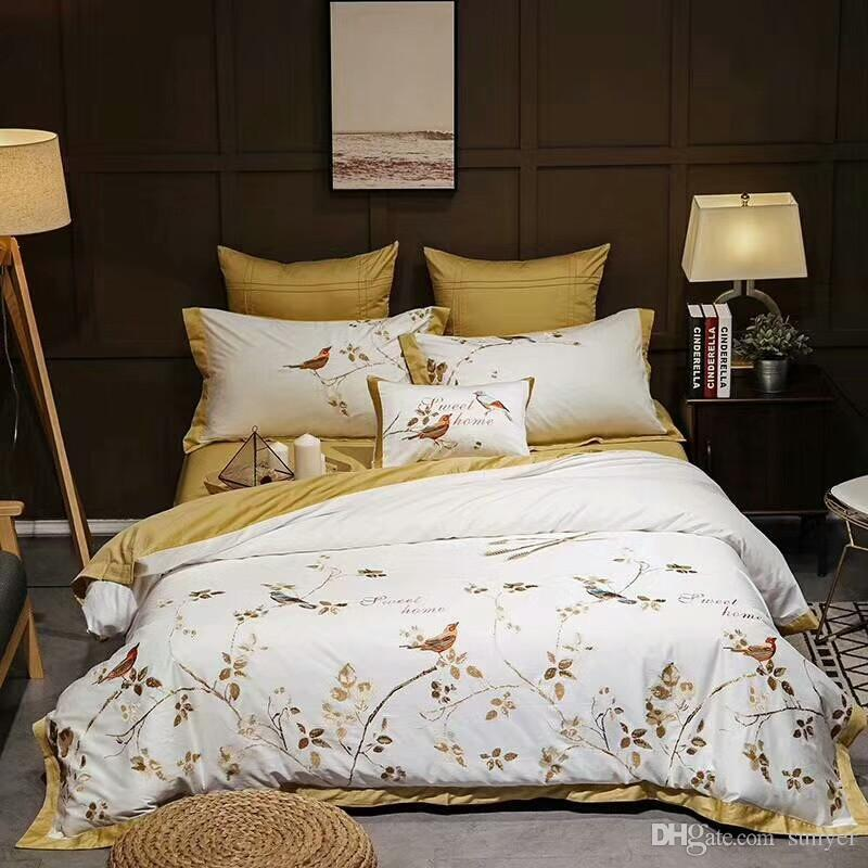 Yellow White Luxury Egyptian Cotton Oriental Bedding Sets Queen King Size  Embroidery Bed Duvet Cover Bed Sheets Linen Set Queen Size Duvet Cheap  Duvet Sets ...