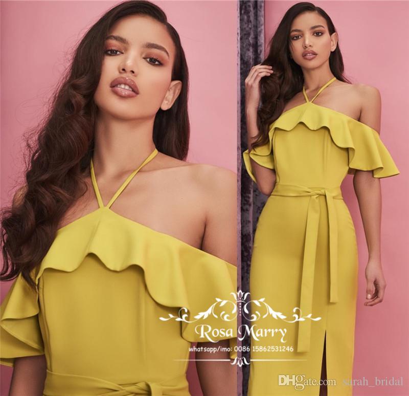 Plus Size Yellow Short Bridesmaids Dresses 2019 Sheath Halter Knee