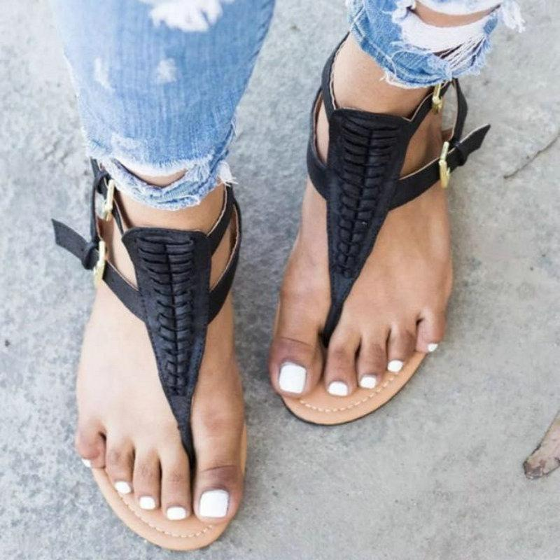 0172623a573c Womens Sandals Flat Summer Fashions 2018 Women Buckle Round Toe Flat Heel  Rome Sandals Flatform Flip Flop Shoes Bamboo Shoes High Heels Shoes From  Annawawa