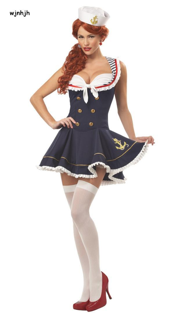bb4f40c294109 2019 WHWH Women Halloween Sexy Nautical Navy Sailor Pin Up Stripe Cosplay  Costume Mini Dress Fancy Dress With Hat Size M XL From Alberty, $32.68    DHgate.