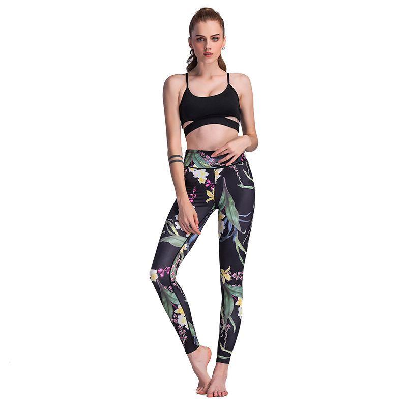 01d7f85bbb705a 2019 New Sale Women Floral Print Running Sport Tights Leggings High Waist  Fitness Women Yoga Pants Femme Stretch GYM Training Capri From Cumax, ...