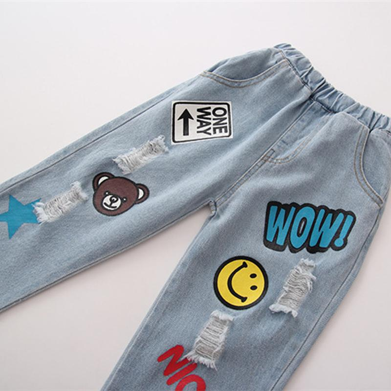 Cute Cartoon Pattern Kids Jeans Spring Autumn Smile Bear High Quality Children Denim Pants Casual Trousers Baby Girls Boys Jeans