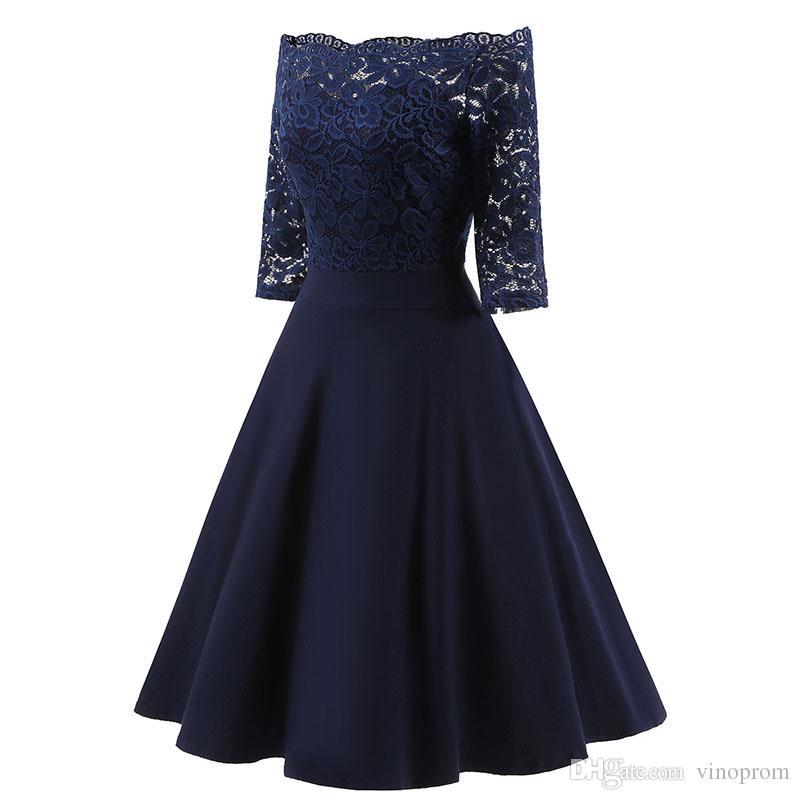 2018 Autunno Donna Elegante Vedere attraverso Off spalla Skater Lace Party Cocktail Madre della sposa vestito aderente