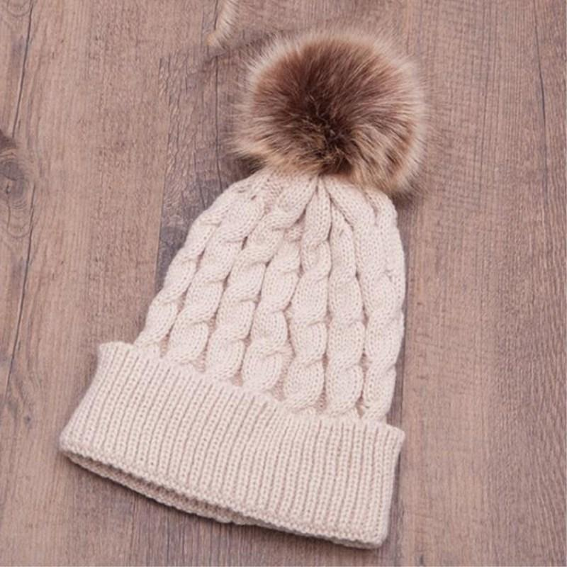 Seioum New Hat Female Classic Knitted Faux Fur Pom Poms Women Cap Headdress  Head Warmer Women S Winter Hats Skullies Beanies Crochet Baby Hats Ladies  Hats ... 6e75cb797