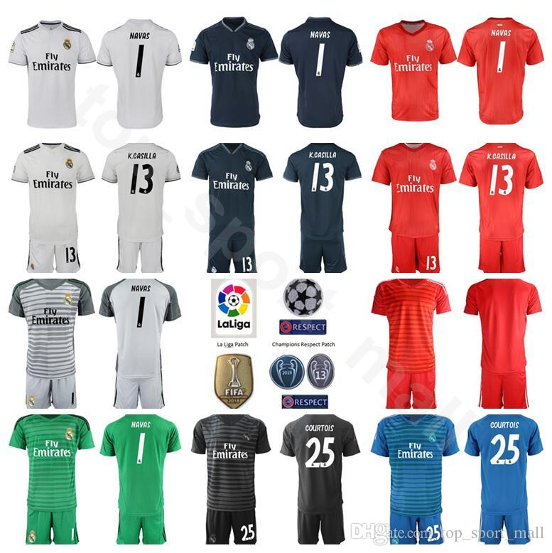 2ec83671d3d 2019 Real Madrid Goalkeeper GK La Liga 1 Keylor Navas Jersey Set Soccer 1  Iker Casillas 13 Casilla Thibaut Courtois Football Shirt Kits Uniform From  ...