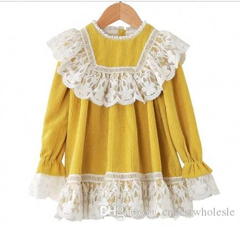 56db6cf34cd4 2019 Christmas Girl Lace Dresses Kids Clothing Princess Corduroy ...
