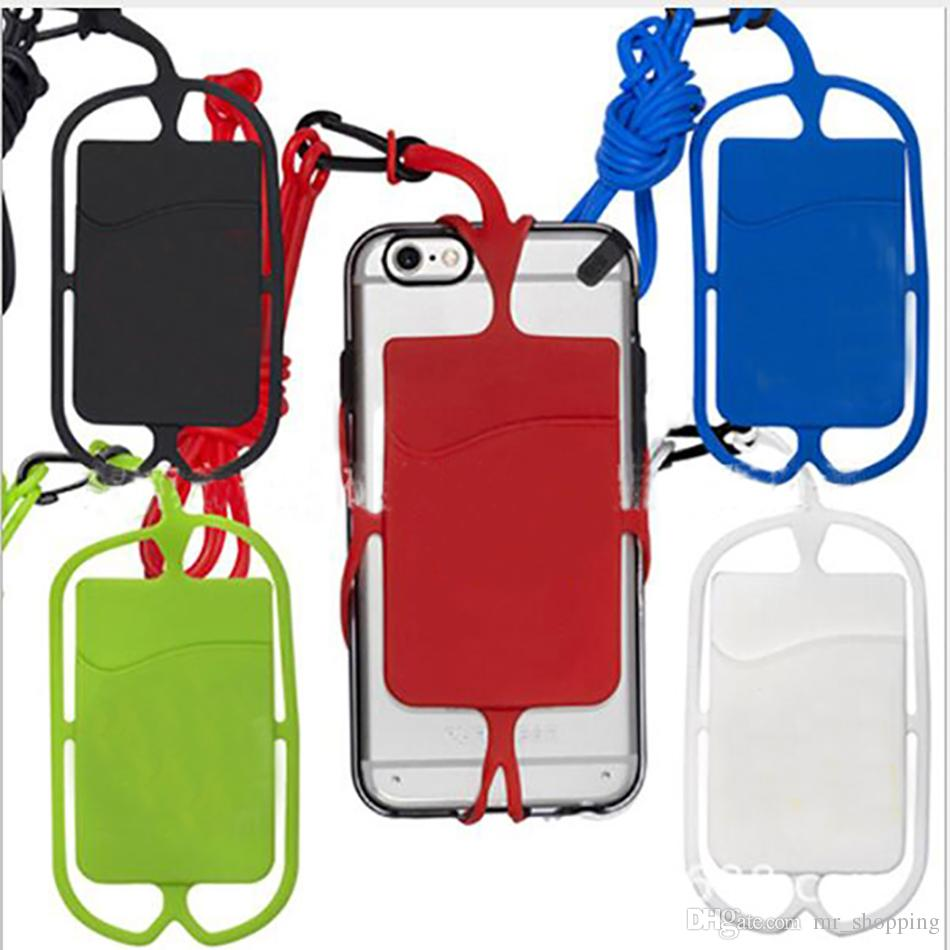 40cm long silicone lanyard neck hook adjust able smart cellphone lanyard protector mobilephone case with credit card slot key pocket