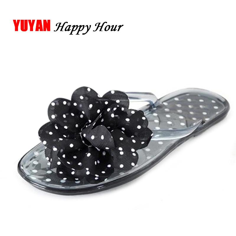 a91388d6251ba New 2017 Fashion Jelly Shoes Women Summer Beach Flip Flops Lady Slippers Women  Summer Shoes Flat Heel Cute Flowers Red Boots Pink Shoes From Bidashoes