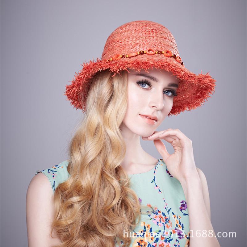 d3b0a329c46 Lady Fashion Straw Hat Girls Travel Rafi Grass Hat Female Wide Brim ...