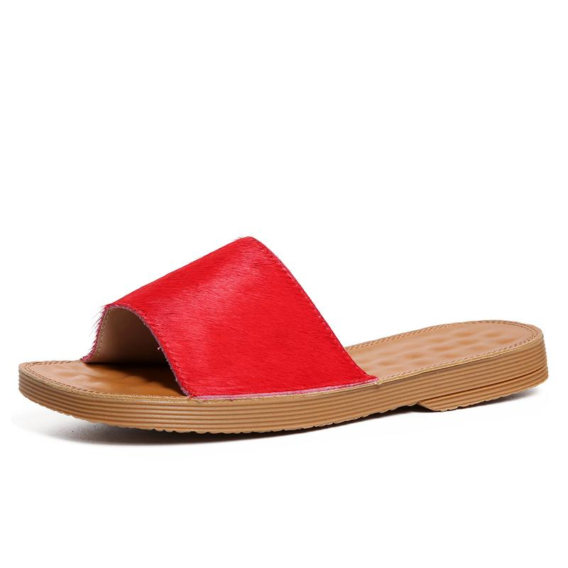 3c8666e3c337 Women S Red Leather Slippers Sexy Ladies Open Toe Mules Summer Style Flat  Slides Woman Casual Shoes Box Packing 6698 7 Boys Slippers Acorn Slippers  From ...