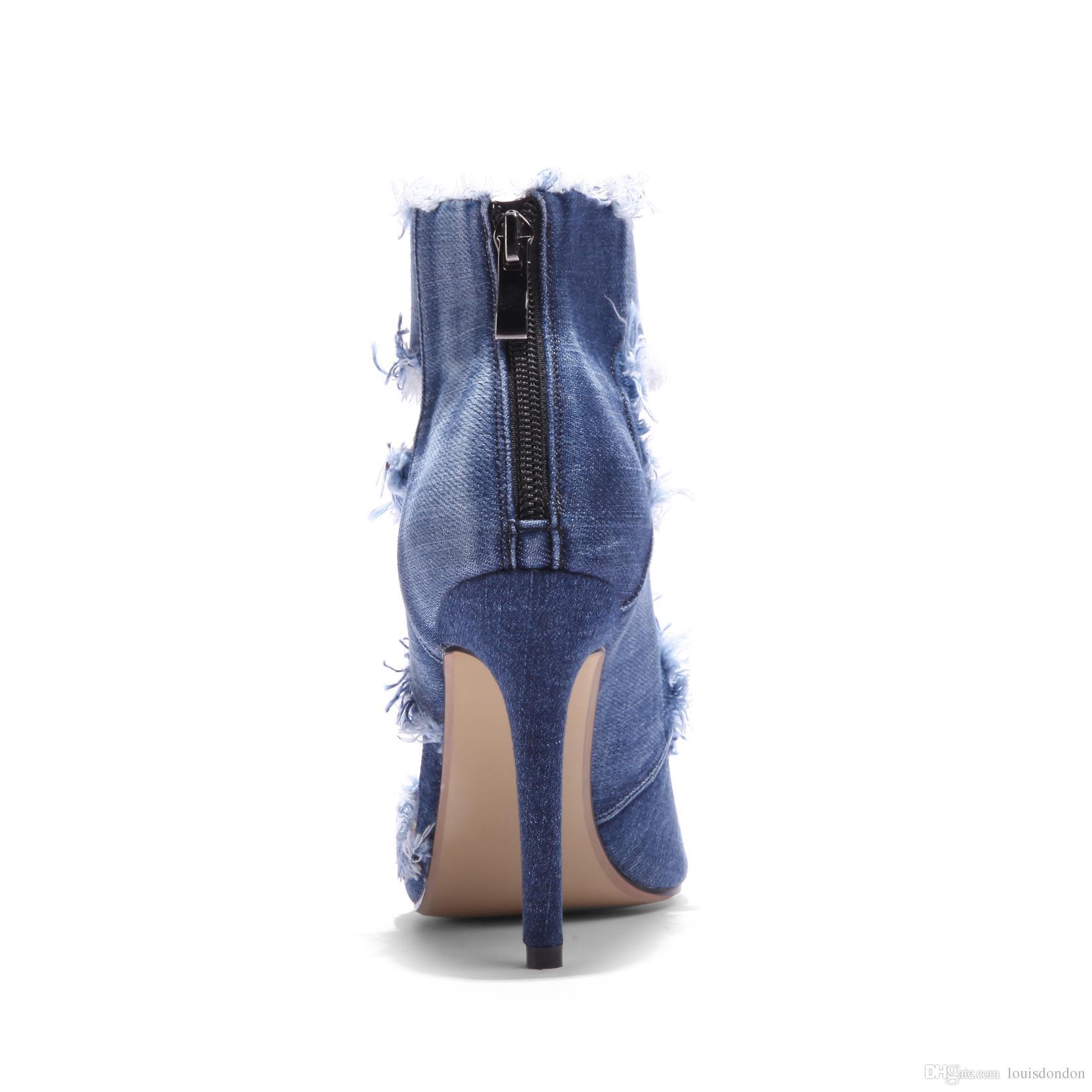 2018 Confortável Qualidade Superior Das Senhoras Azul Denim Jeans Largura Largura De Salto Alto de Volta Zíper Tornozelo Cinta Sandálias Das Mulheres
