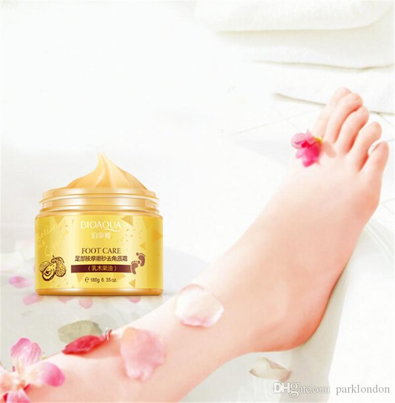 2018 BIOAQUA 24K GOLD Shea Buttermassage Cream Peeling Renewal Mask Baby Foot Skin Smooth Care Cream Exfoliating Foot Mask