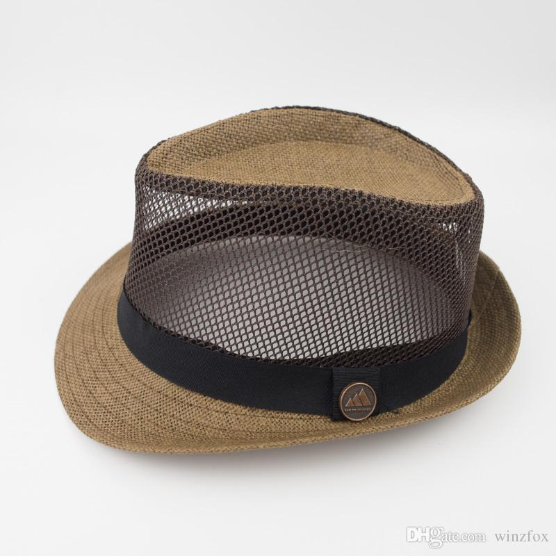 EPU-MH1828 Mesh Straw Fabric Stingy Brim Fedora Dad Men Designer Hat Women  Ladies Hats for Summer Beach Holiday Classic Jazz Hats Designer Hats Men  Disigner ... 17cd39fc9ea
