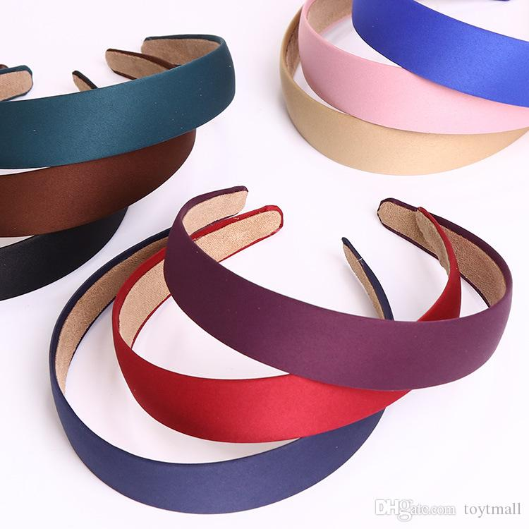 Colored Satin Covered Resin ribbon winding hair band Kids hair Accessories cm Basic head band for woman/girl/Lady