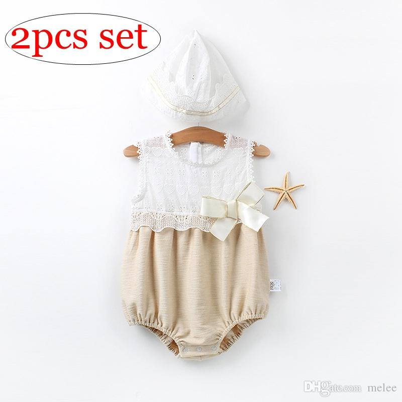 253c47d9453 2019 Ins Summer 100% Cotton Newborn Big Bow Rompers With Nb Hats Set Kids  Full Lace Fly Sleeved Rompers Jumpsuits With Caps From Melee