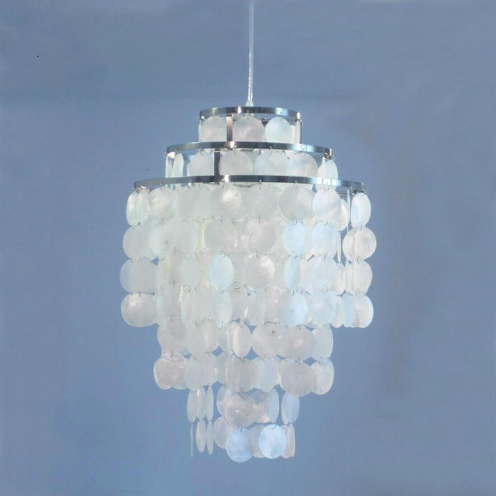 3 circle diy modern white natural seashell pendant lamp fixture e27