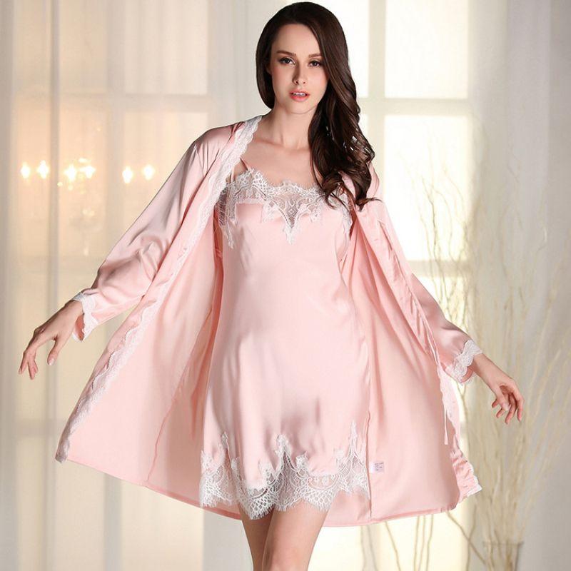 2019 RS0162 2018 New Gown Robe Set Brand Nightwear Satin Silk Robe Femme  Lady Solid Bathrobe Nightgown Set Sexy Lace Pyajama From Bida Jany b1f29e08b