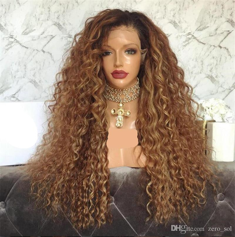 Dos tonos Ombre # 1bT30 peluca de cabello humano Pelucas llenas del cabello humano del cordón para las mujeres negras Ombre pelucas del frente del cabello humano