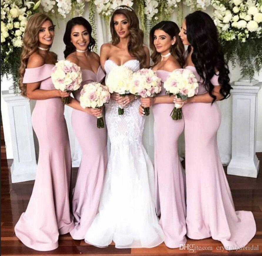 d4dce6daad3 Country Long Mermaid Blush Pink Bridesmaid Dresses 2018 Off Shoulder Side  Split Satin Western Custom Wedding Guest Prom Maid Of Honor Gowns Bridesmaid  ...