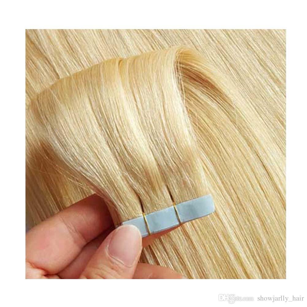 Full Cuticle 100 European Tape In Human Hair Extensions Double