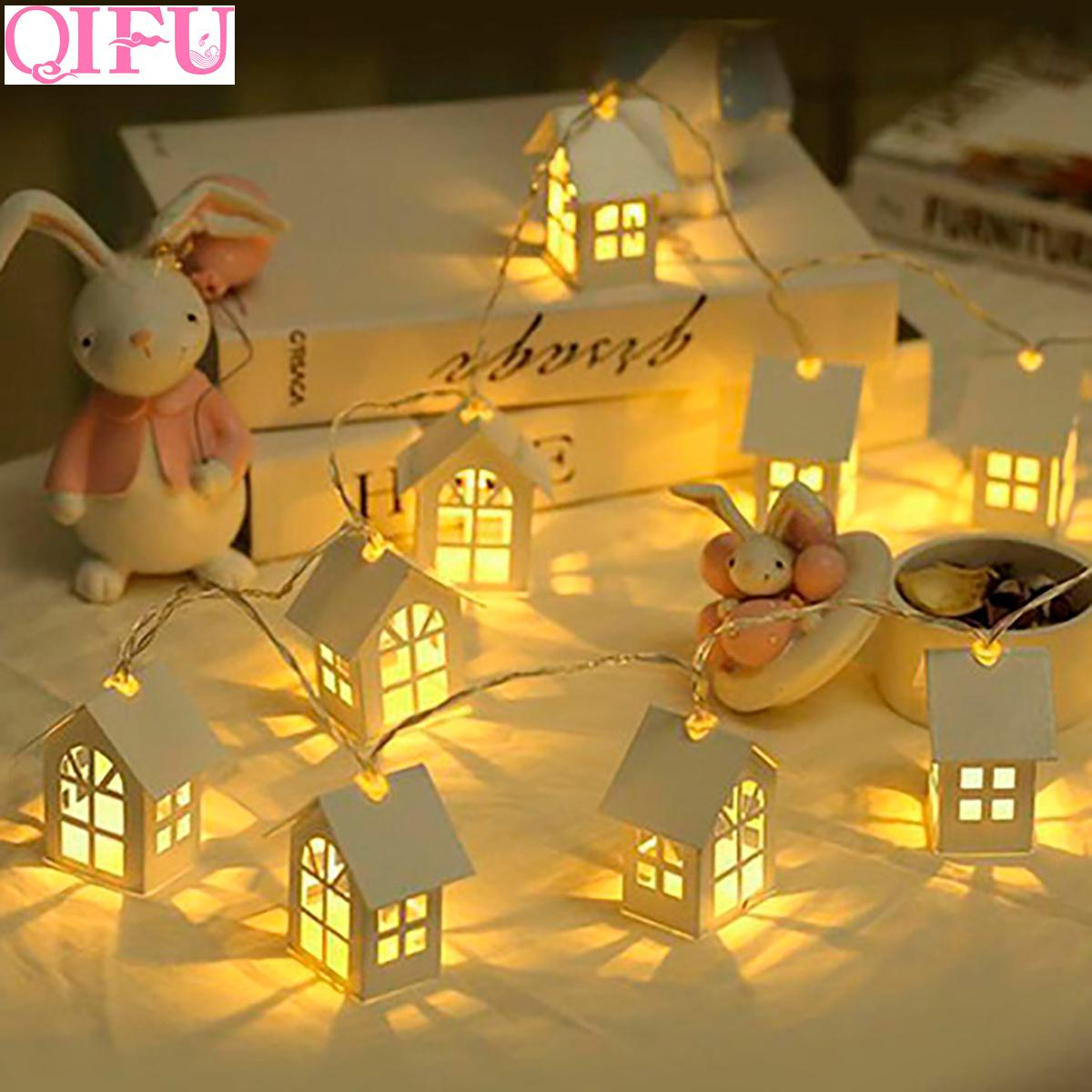Qifu Led Wooden Christmas Decorations House Style Fairy Light Happy