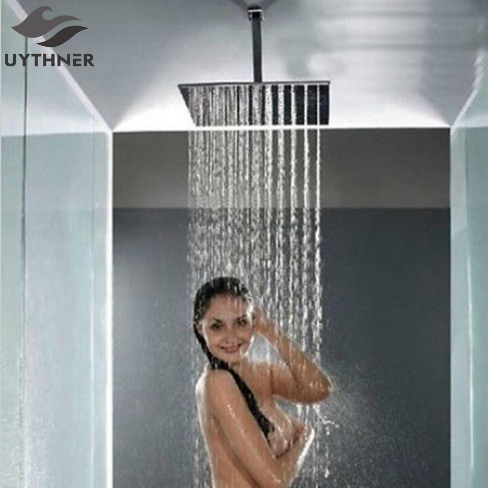 2019 Uythner Polished Chrome 16 Square Rain Shower Head Shower