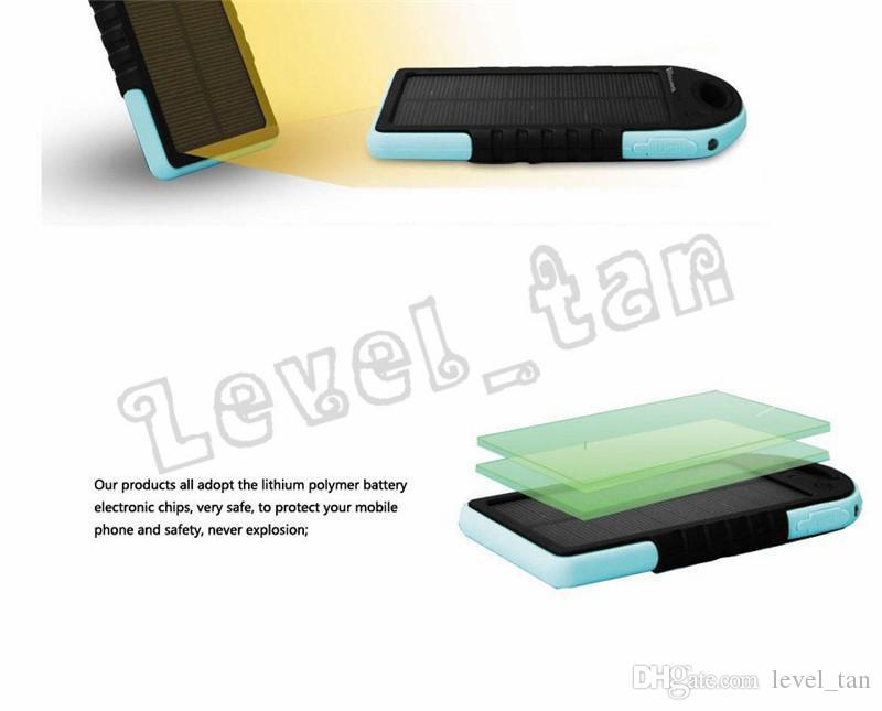 5000mAh solar power Charger and Battery solar panel waterproof shockproof Dustproof portable power bank for Mobile Cellphone Laptop Camera