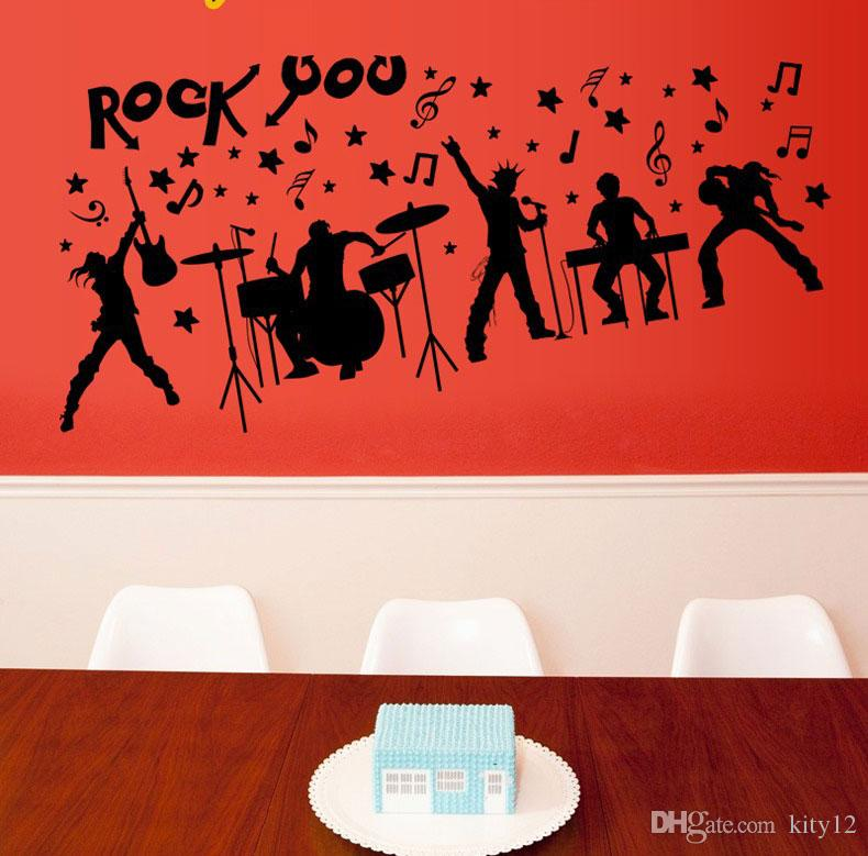 Rock Music Art Mural Decoration wallpaper Removable Guitar Pattern Wall Sticker For Bedroom and Study Decoration