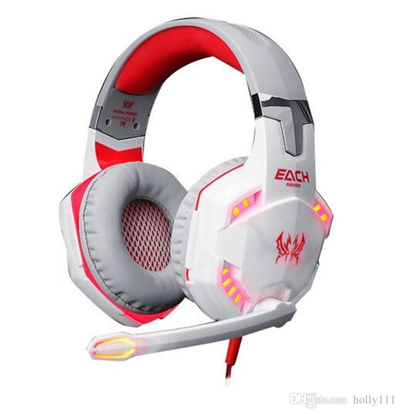 أفضل أجهزة الكمبيوتر ألعاب G2000 ستيريو الألعاب سماعة مع ميكروفون توهج لعبة الموسيقى الصمام الألعاب سماعة DHL شحن مجاني
