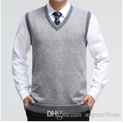 b780feb9f07f6 Compre Suéter Para Hombre Chaleco De Lana Jersey Sin Mangas Homm Casual  Chalecos De Punto Hombres De Negocios Con Cuello En V Chaleco Hombre De  Punto De ...