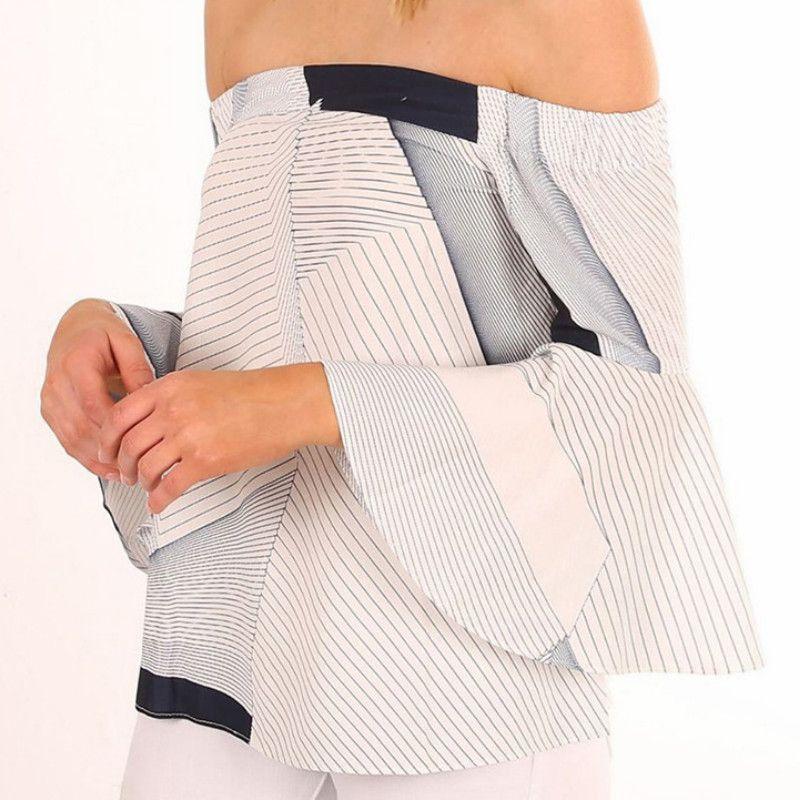 90f7be3e392ffa Women's Off Shoulder Geometric Splicing Printing Sexy Blouses Slash ...